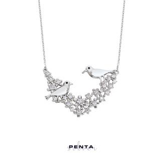 Penta Silver - Aşk İncelik İster Kuşlu Gümüş Kolye (1)