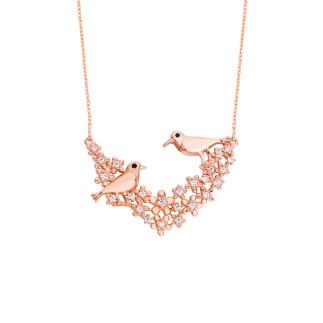 Aşk İncelik İster Kuşlu Gümüş Kolye - Thumbnail