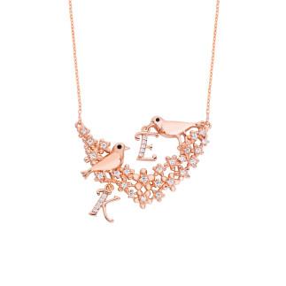 Aşk İncelik İster Kuşlu Harfli Gümüş Kolye - Thumbnail