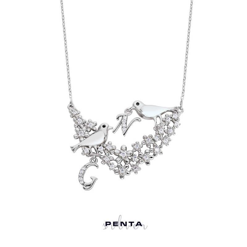 Aşk İncelik İster Kuşlu Harfli Gümüş Kolye