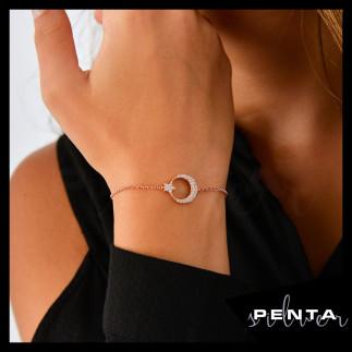 Penta Silver - Ay Yıldız Asansörlü Gümüş Bileklik