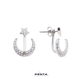 Penta Silver - Ay Yıldız Piercing Gümüş Küpe