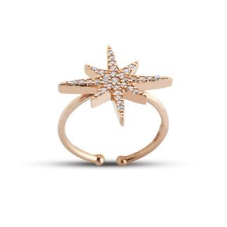 Ayarlı Kutup Yıldızı Gümüş Yüzük - Thumbnail