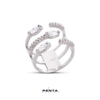 Penta Silver - Ayarlı Üçlü Markiz Gümüş Yüzük (1)