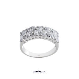 Penta Silver - Baget Taş Yarım Tur Gümüş Yüzük (1)