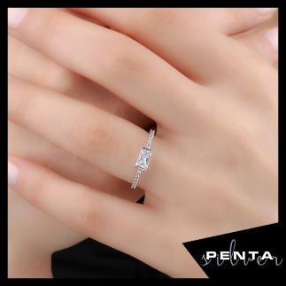 Penta Silver - Baget Taşlı Alyans Gümüş Yüzük