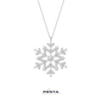 Penta Silver - Baget Taşlı Büyük Kar Tanesi Gümüş Kolye