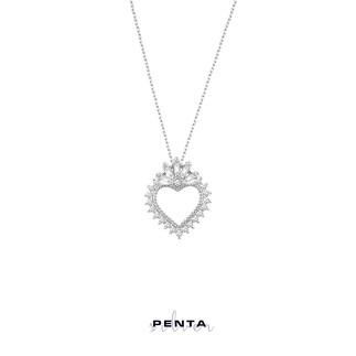 Penta Silver - Baget Taşlı Kalp Gümüş Kolye