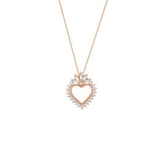 Baget Taşlı Kalp Gümüş Kolye - Thumbnail