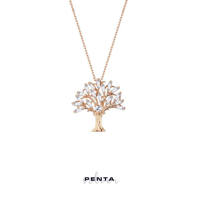 Baget Taşlı Kalpli Hayat Ağacı Gümüş Kolye