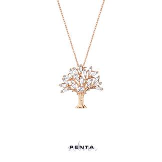 Baget Taşlı Kalpli Hayat Ağacı Gümüş Kolye - Thumbnail