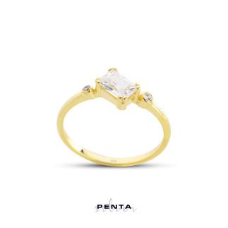 Penta Silver - Baget Taşlı Stil Gümüş Yüzük