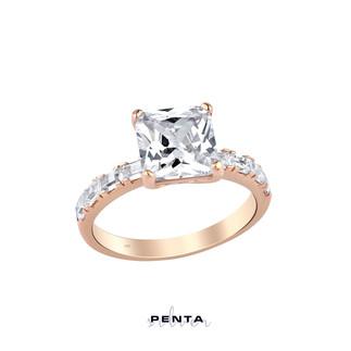 Baget Zemin Prenses Kesim Tek Taş Gümüş Yüzük - Thumbnail
