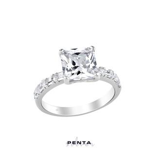 Penta Silver - Baget Zemin Prenses Kesim Tek Taş Gümüş Yüzük (1)