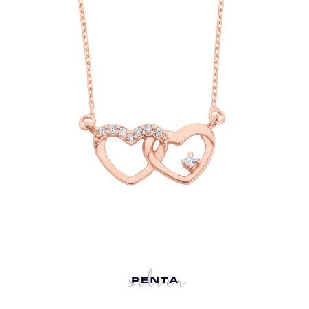 Bağlı Kalpler Gümüş Kolye