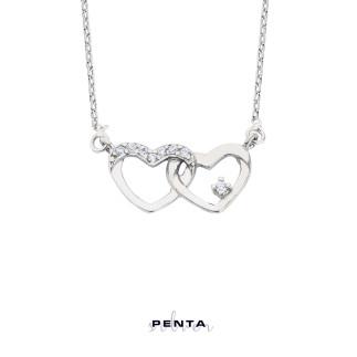 Penta Silver - Bağlı Kalpler Gümüş Kolye (1)