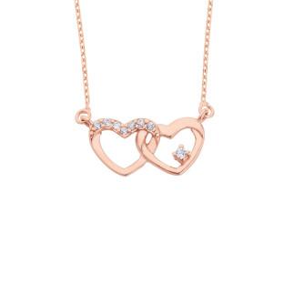 Bağlı Kalpler Gümüş Kolye - Thumbnail