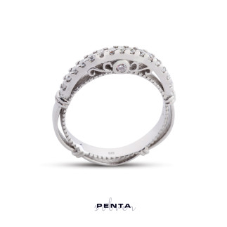 Penta Silver - Barok Kemerli Alyans Gümüş Yüzük (1)