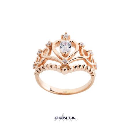 Barok Motif Prenses Tacı Gümüş Yüzük