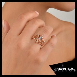 Penta Silver - Barok Motif Prenses Tacı Gümüş Yüzük