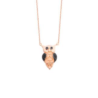 Baykuş Gümüş Kolye - Thumbnail