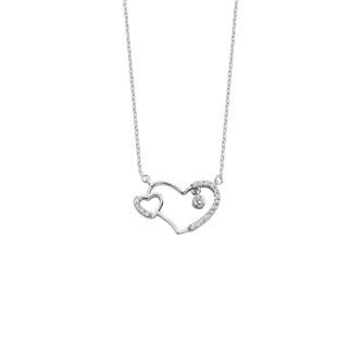 Birleşik Kalpler Gümüş Kolye - Thumbnail
