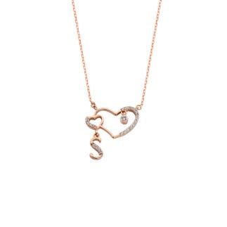 Birleşik Kalpli Harfli Gümüş Kolye - Thumbnail