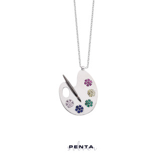 Penta Silver - Boya Paleti Gümüş Kolye (1)