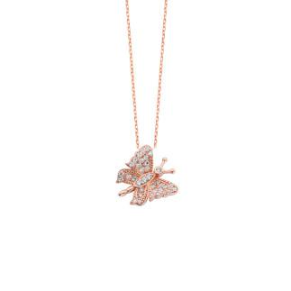 Büyük Kelebek Gümüş Kolye - Thumbnail