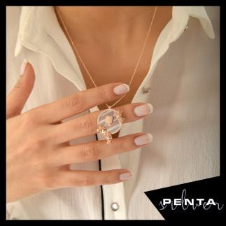 Penta Silver - Canım Annem Sedefli Rose Gümüş Kolye (1)