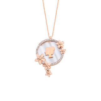 Canım Annem Sedefli Rose Gümüş Kolye - Thumbnail