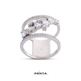 Penta Silver - Çapraz Kuşak Gümüş Yüzük (1)