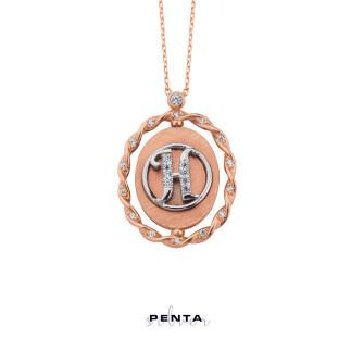 Penta Silver - Çerçeve Gümüş Kolye İsimli ve Harfli