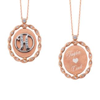 Çerçeve Gümüş Kolye İsimli ve Harfli - Thumbnail