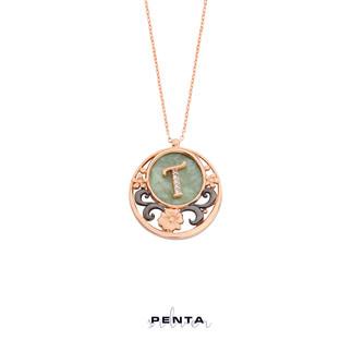 Penta Silver - Çiçek Desenli Harfli Sedefli Gümüş Kolye