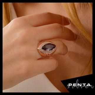 Penta Silver - Çiçek Motifli Anturaj Markiz Taşlı Gümüş Yüzük