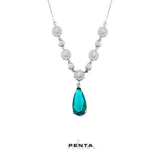 Penta Silver - Çiçek Motifli Damla Abiye Gümüş Kolye