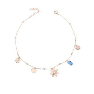 Çiçek Motifli Gümüş Halhal - Thumbnail
