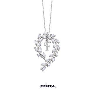 Penta Silver - Çiçek Tacı Harfli Gümüş Kolye (1)