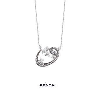 Penta Silver - Çiçekli Vav Gümüş Kolye (1)