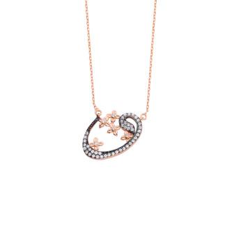 Çiçekli Vav Gümüş Kolye - Thumbnail