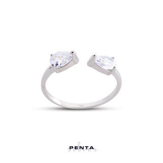 Penta Silver - Çift Damla Ayarlı Gümüş Yüzük