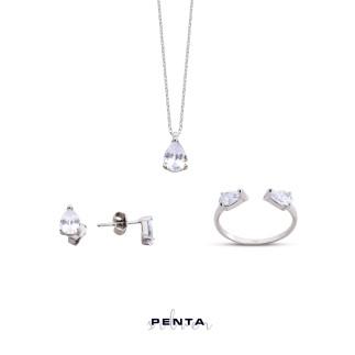Penta Silver - Çift Damla Gümüş Takı Seti