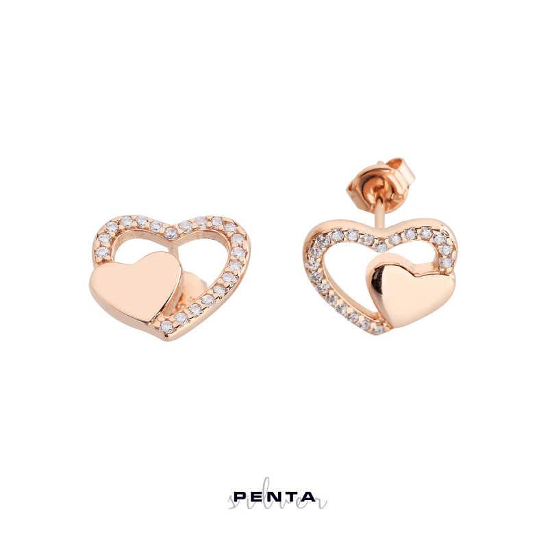 Çift Kalp Gümüş Küpe