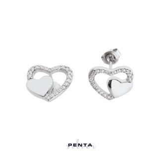 Penta Silver - Çift Kalp Gümüş Küpe (1)