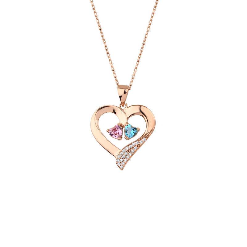 Çift Kalp Taşlı Kalpli Gümüş Kolye