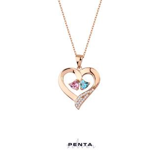 Penta Silver - Çift Kalp Taşlı Kalpli Gümüş Kolye
