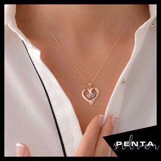 Çift Kalp Taşlı Kalpli Gümüş Kolye - Thumbnail