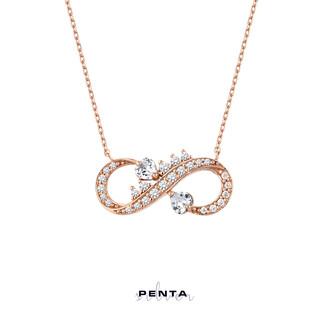 Penta Silver - Çift Kalp Taşlı Sonsuzluk Gümüş Kolye