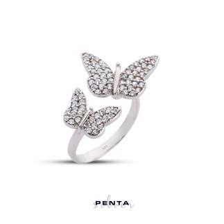 Penta Silver - Çift Kelebek Gümüş Yüzük (1)